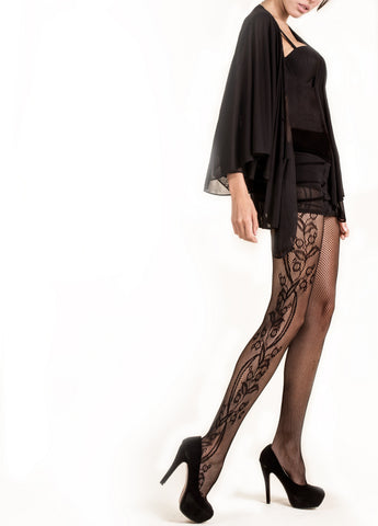 Side Whimsical Floral Inset Fishnet Tights