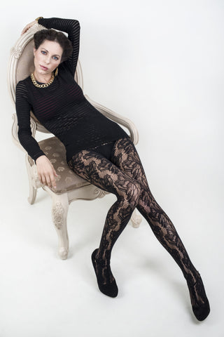 Illustrated Flora Fishnet Tights