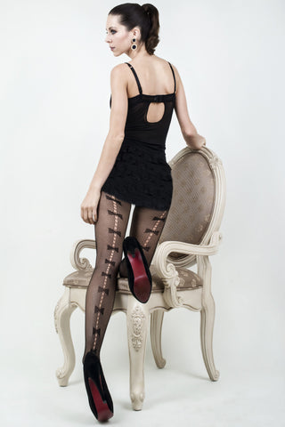 Bow Tie Backseam Fishnet Tights