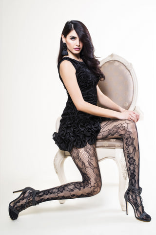 Etched Side Roses Lady's Fishnet Tights