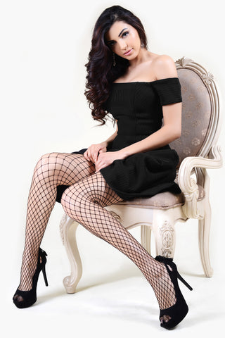 Ladies Striped Design Fishnet Tights