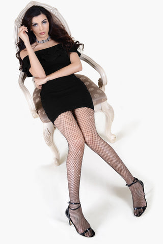 Shine Bright Scattered Rhinestone Fishnet Tights