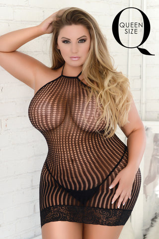Just Ribbon And Fishnet Bodystocking