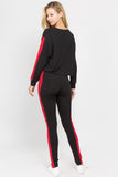 black red two piece sets matching outfits women's pullover crop tops high waist leggings