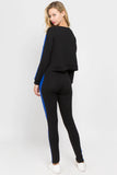blue black pullover crop sweatshirts leggings for women