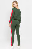 green red pullover tops soft leggings