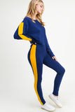 Varsity Team Crop Pullover Top and Leggings- 2 Piece Set