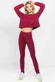 burgundy white crop tops matching leggings for women sets