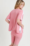 pink white oversized t-shirt bike shorts for women