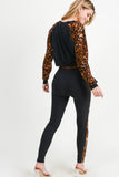 cheetah print pullover sweatshirt high rise legging set