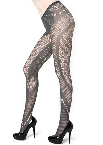 Fishnet Tights With Aztec Inspired Cut Outs
