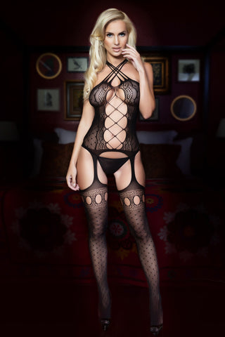 Open Front Criss-Cross Bodystocking