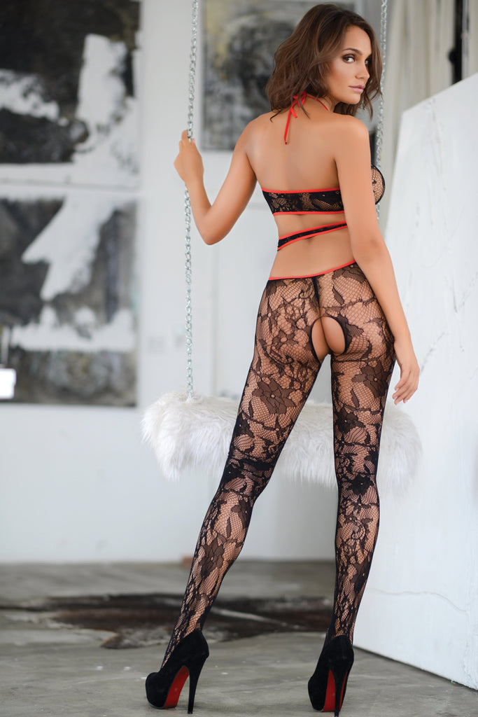 Floral Escape Halter Bodystocking