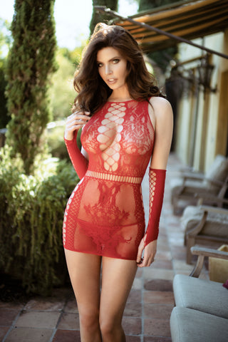 One Night Lace Bandage Bodystocking Dress