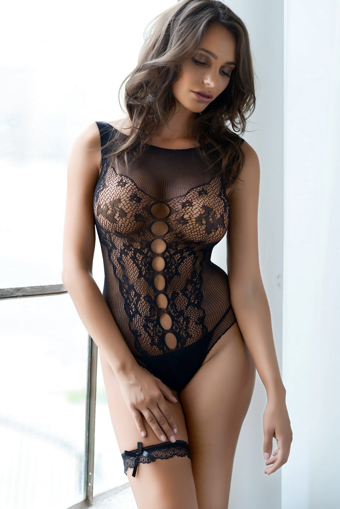 black lace sheer fishnet bodysuit lingerie