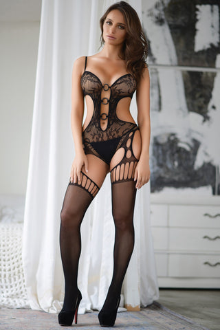Bad Intentions Floral Lace Keyhole Bodystocking