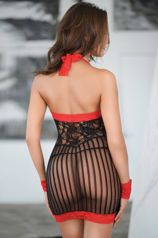 Sensual Stripes Halter Bodystocking Dress