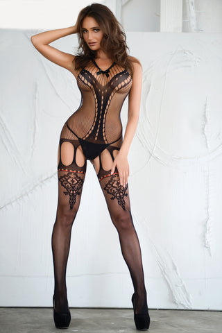 Queen of Hearts Fishnet Bodystocking