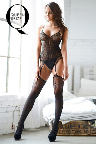 Plus Size Dark Places Fishnet Lace Bodystocking