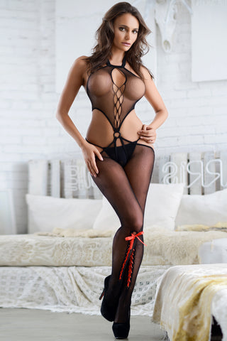 Dark Fantasy Lace-Up Fishnet Body Stocking