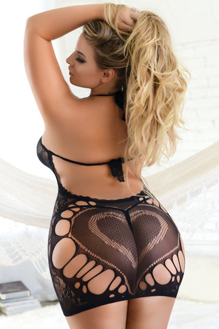 Plus Size Seductive Bodystocking with Attached Garter Tights