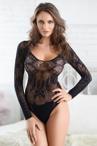 Sultry Long Sleeve Fishnet Patterned Bodystocking Suit