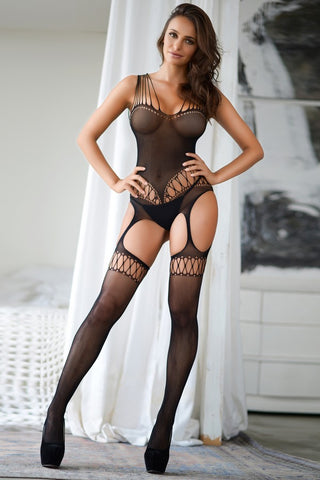 All Of Me Multi Strap Sheer Fishnet Body Stocking