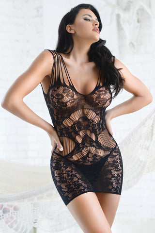 Reveal Striped Design Fishnet Bodystocking