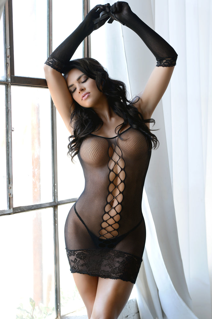 Lace Dreams Fishnet Bodystocking with Gloves