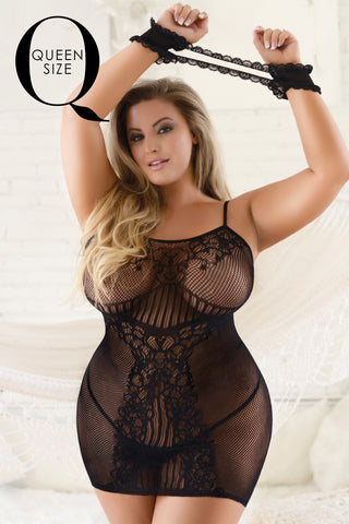 Plus Size Lace Go Sheer Fishnet Bodystocking Dress
