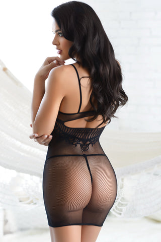 Lace Go Sheer Fishnet Bodystocking Dress