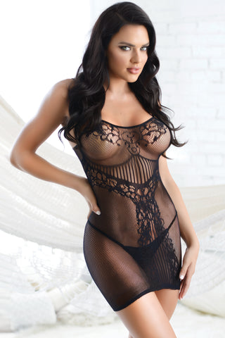 I Heart You Off Shoulder Fishnet Body Stocking Dress