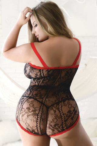 Plus Size Just Ribbon And Fishnet Bodystocking