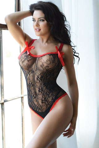 Cute as a Button Off the Shoulder Bodystocking