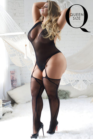 Plus Size Privacy Fishnet Bodystocking w/ Garter Tights