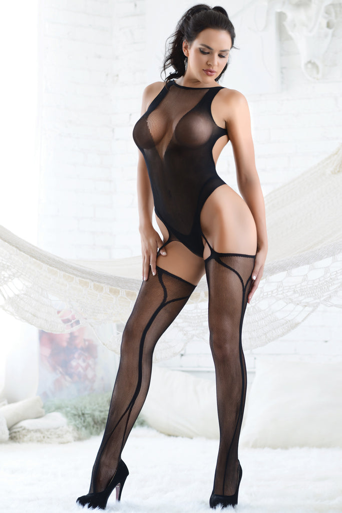 Lingerie bodysuit with attached garter tights in a deep wine red shade. Perfect for raves or music festivals.