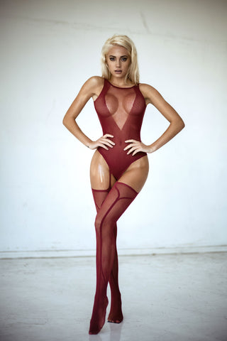 Haute Flame Fishnet Garter Bodystocking