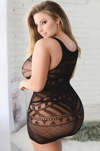 Plus Size Wild One Tribal Mesh Bodystocking Dress