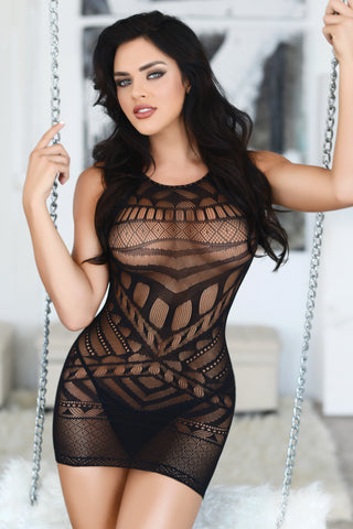 Wild One Tribal Mesh Bodystocking Dress