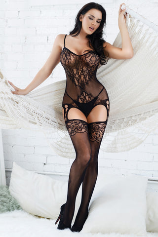 Midnight Floral Lace Body Stocking- Regular And Queen Size