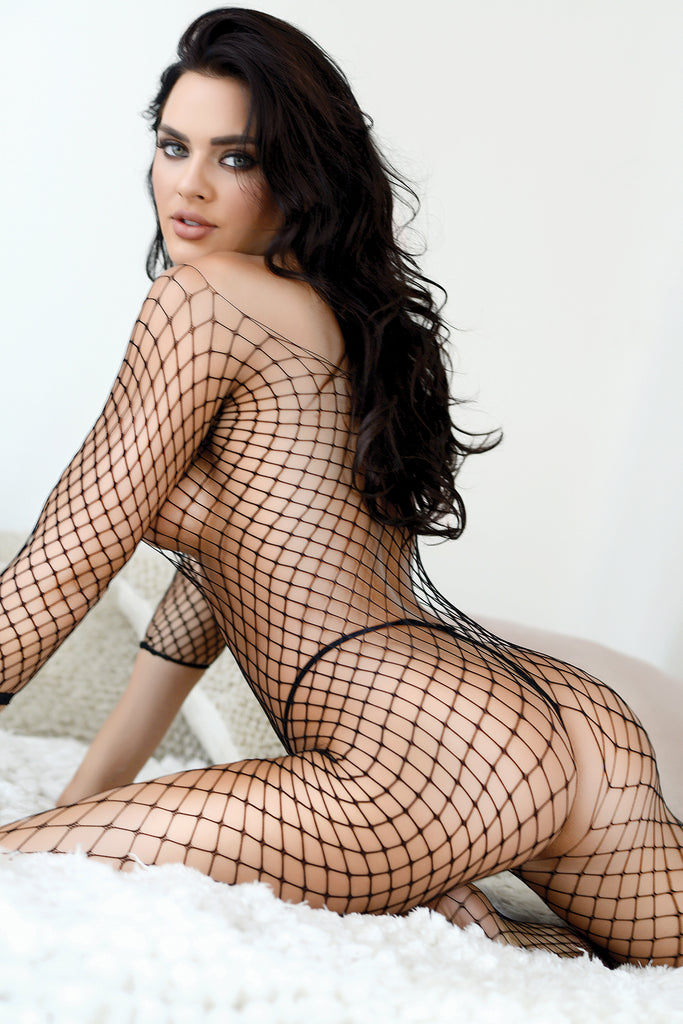 black fishnet bodystockings