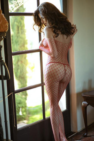 Plus Size Love Conquers All Fishnet Bodystocking
