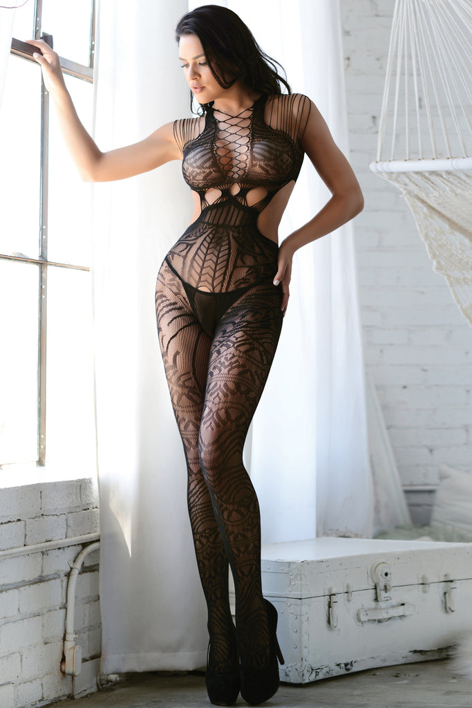 black fishnet full length bodystockings
