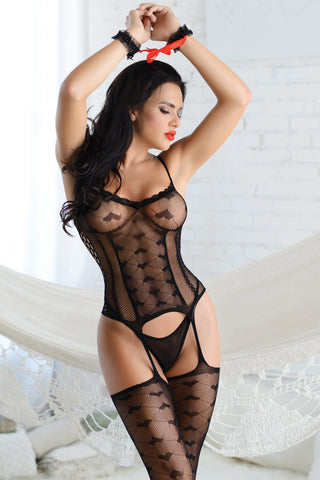 Hearts Go Wild Sheer Bodystocking