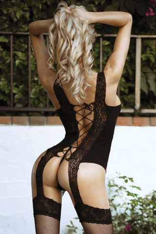 Flaunt It Corset Fishnet Bodystocking