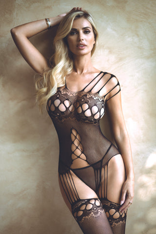 Lights Out Choker Neck Fishnet Bodystocking