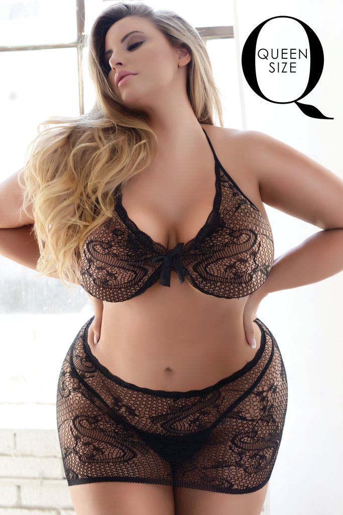 black floral lace lingerie plus size