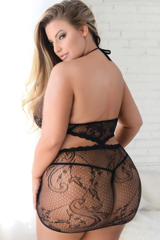 Plus Size Flawless Two-Piece Fishnet Bodystocking