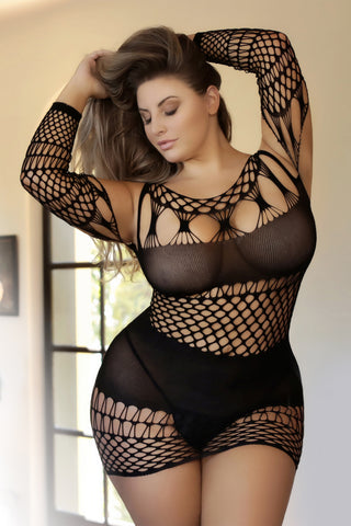 Plus Size This Love Geo Fishnet Bodystocking