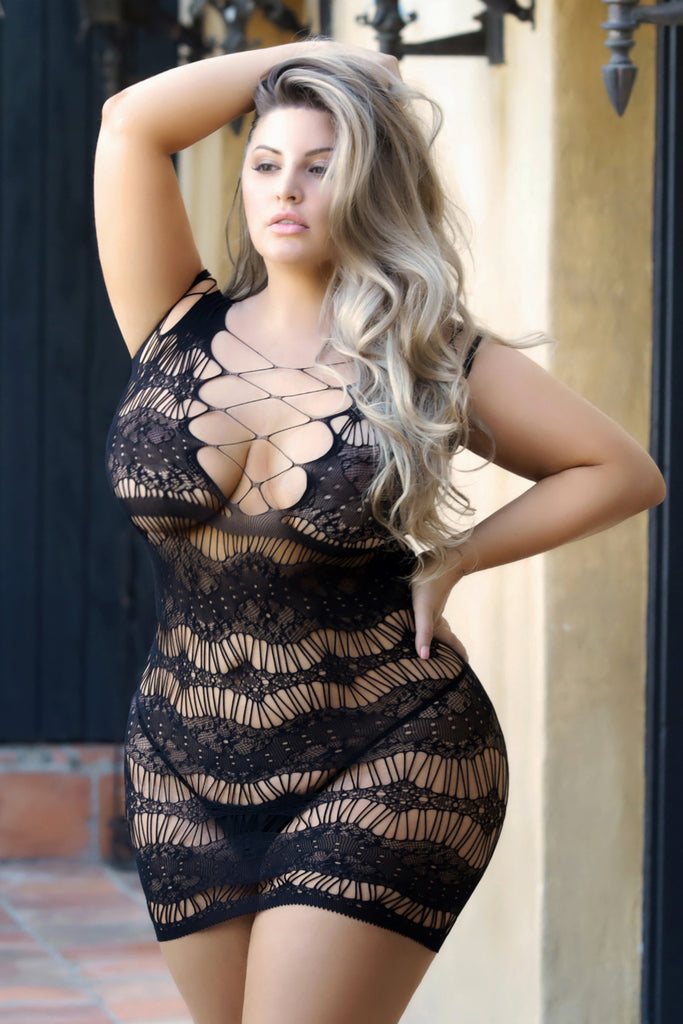 Plus Size Sweet Darling Fishnet Lace-Up Bodystocking Dress